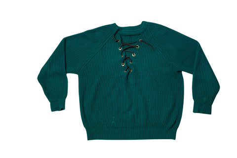 LACE UP // LARGE GREEN CROPPED SWEATSHIRT
