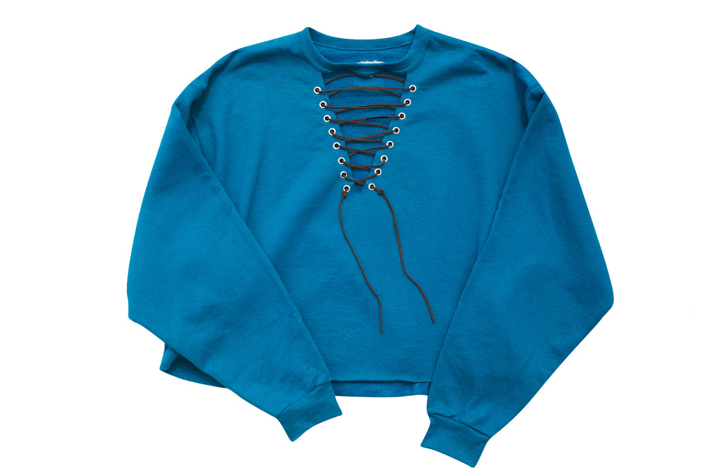 MULTI LOVE // TEAL CROPPED SWEATSHIRT