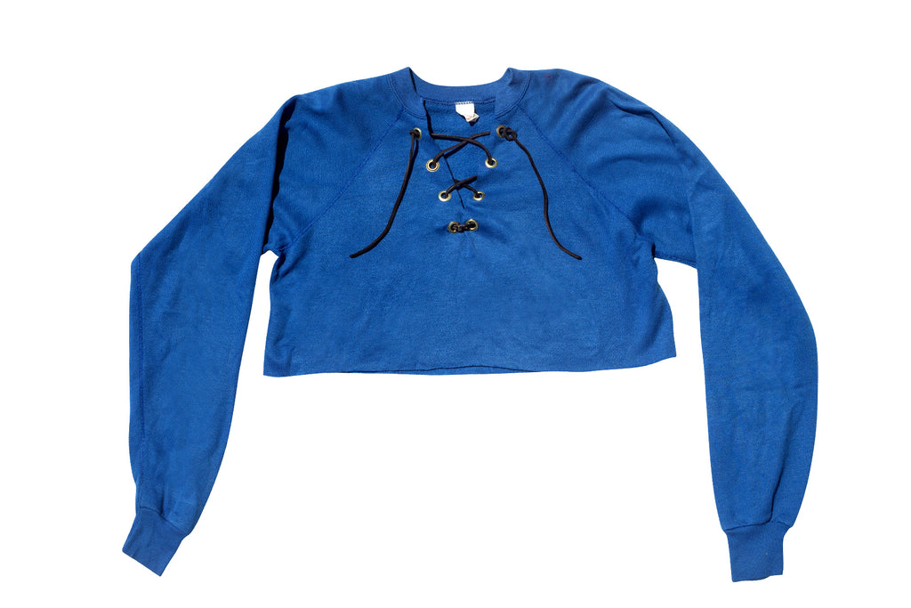 LACE UP //  BLUE CROPPED SWEATSHIRT