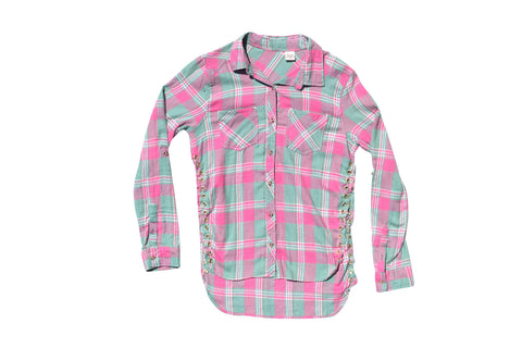 FLANGE FACE //  PINK & GREEN FLANNEL