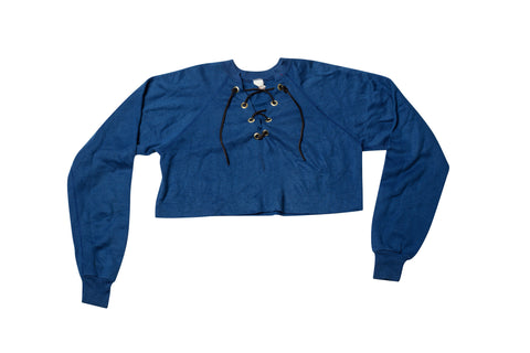 SHORT CIRCUIT // MEDIUM BLUE CROPPED SWEATSHIRT