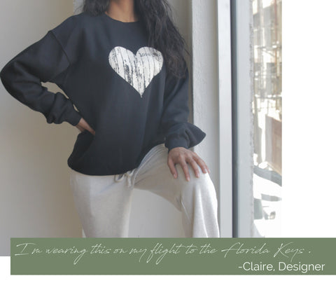 Girl wearing the Amour Cotton Sweatshirt paired with Marble Crestline Jogger