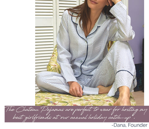 Model wearing the Chateau Pajama Set sitting on printed chair.