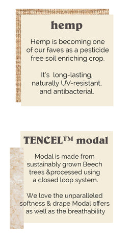 Hemp and modal fabric call outs
