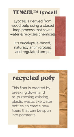 lyocell and recycled poly fabric call outs