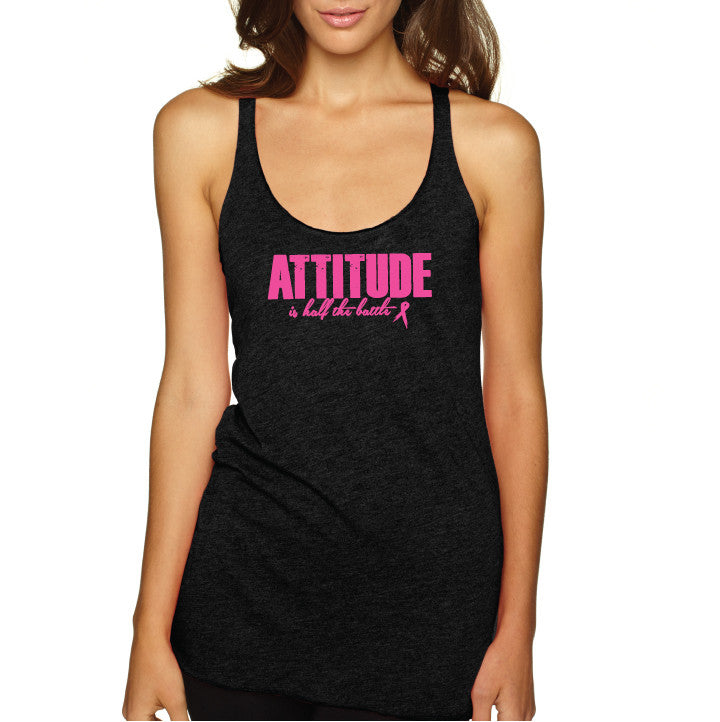 Attitude Racer Tank- Char/ Pink