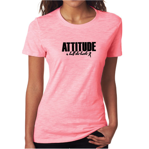 Attitude Fitted Tee Pink/ Blk