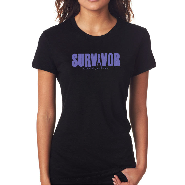 Survivor Fitted Tee- Blk/ Purp