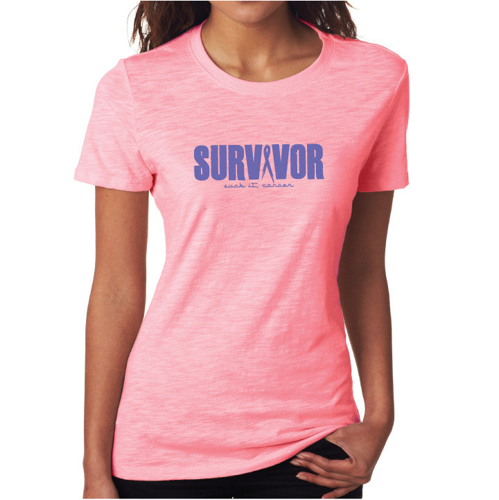 Survivor Fitted Tee- Pink/ Purp