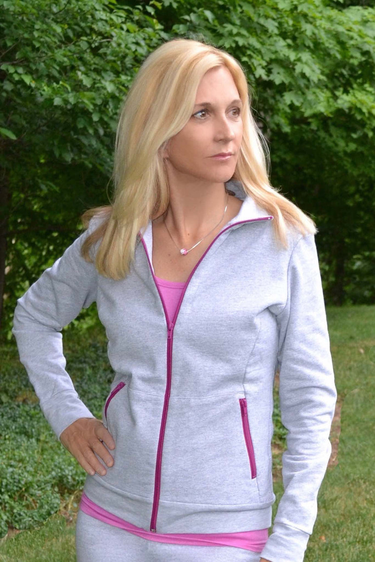 The Zip Up Fleece Sweatshirt - Purple Zipper - Groutfit Apparel  - 1