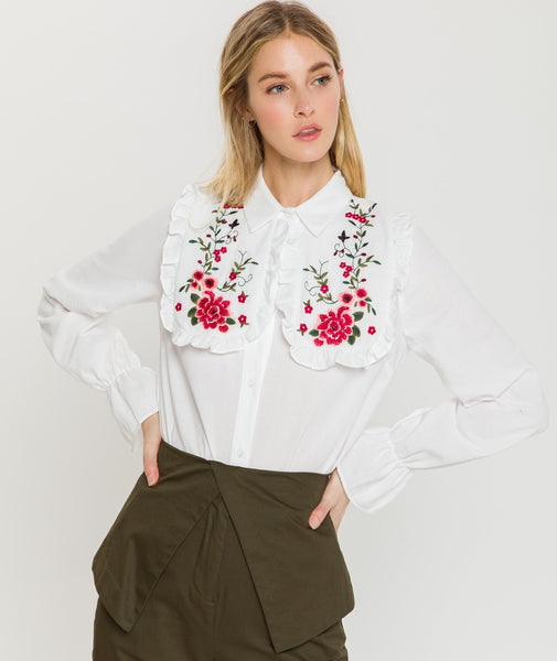 FLORAL EMBROIDERED POPLIN TOP