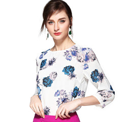 Cool Toned Floral Print Blouse