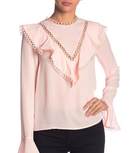 CIRCLE TRIM CUTOUT BLOUSE