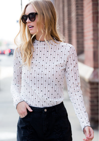 Sheer Polka Dot Top