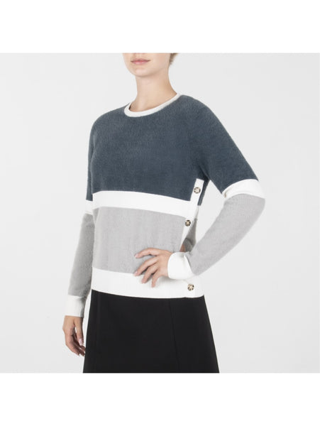 GREY COLOR BLOCK FURRY TOP