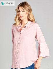 BUTTON UP TOP WITH BELL SLEEVE