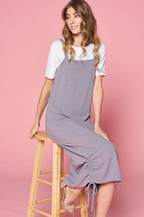 SIDE HEM GATHERED JUMPER DRESS