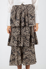 Leopard Printed Tiered Midi Skirt