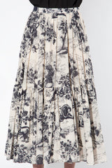 Toile Printed Skirt in Black