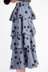 MIDI POLKA DOT TIERED SKIRT