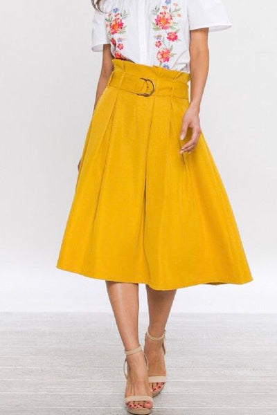 HIGH WAISTED LIGHT PLEATS A-LINE SKIRT