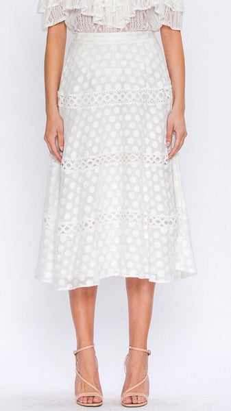POLKA DOT EMBROIDERED A-LINE SKIRT