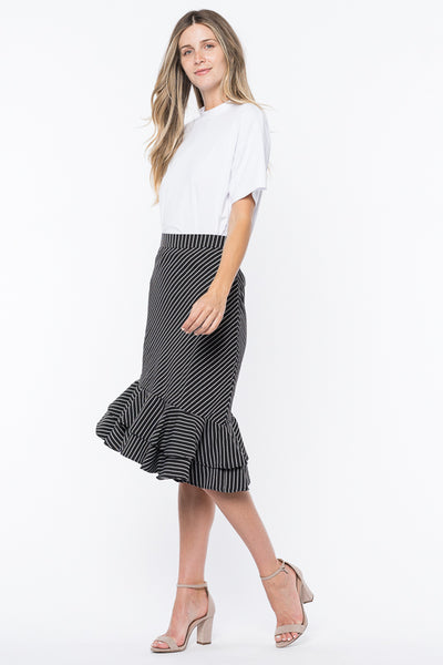 STRIPED ASYMMETRICAL HEM SKIRT