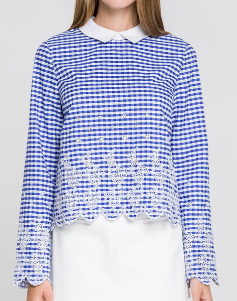 CHECKERED BLOUSE WITH SCALLOP HEM