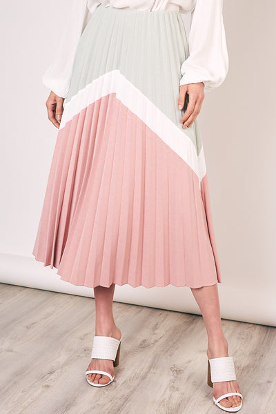 Chiffon Color block Midi Skirt