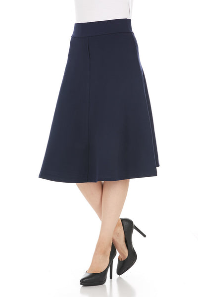 Ponte A-line Stitched Layered Flare Skirt