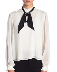 BLOUSE WITH SEPARATE BOW TIE