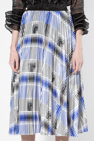 Plaid Printed Accordion  Midi Skirt