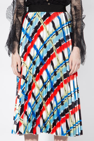 PRINTED ACCORDION PLEATED SKIRT