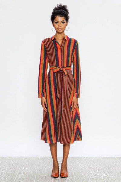 MULTI-COLORED A-LINE MIDI DRESS