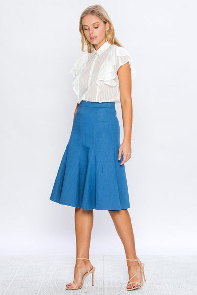 DENIM FITTED AND FLARE PANEL SKIRT