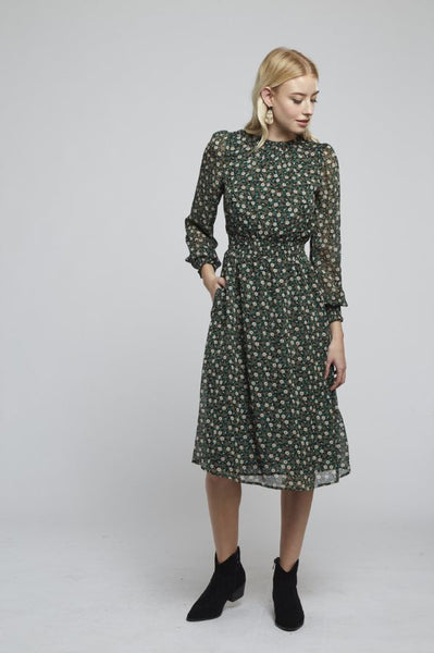SMOCK NECK DECO FLORAL DRESS
