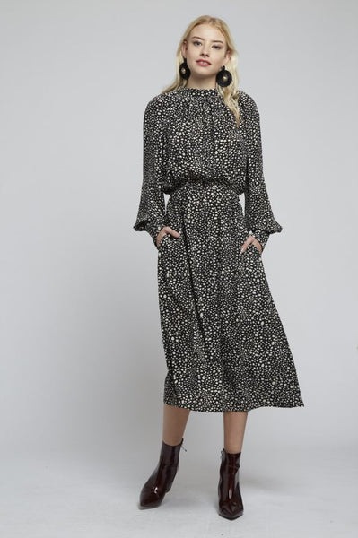 Animal Print Blouseon Sleeve Dress