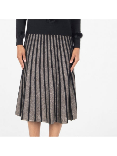 GOLD LUREX STRIPED SKIRT