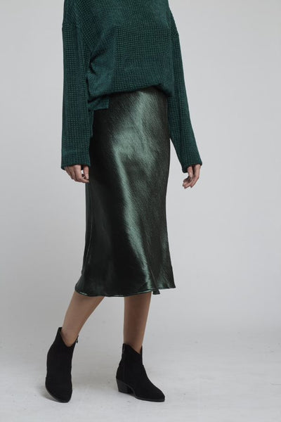TEHANI SATIN BIAS CUT SKIRT