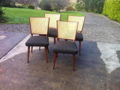 1970s upholstered Dining Chairs x 4