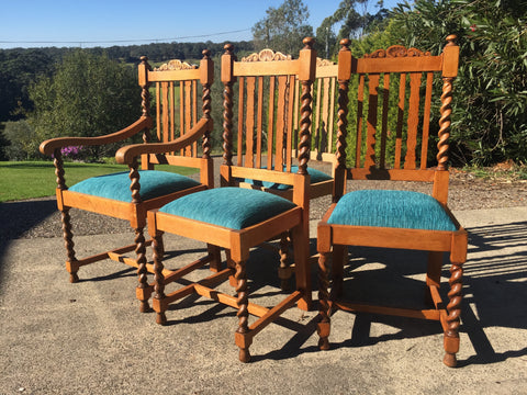 Oak Barley Twist Chairs