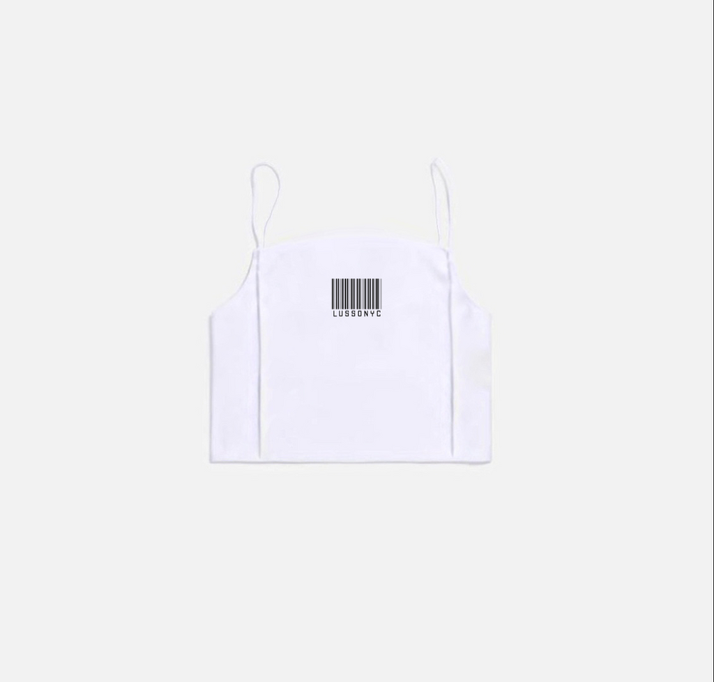 LUSSONYC BARCODE CAMI CROP TOP (BIANCO)