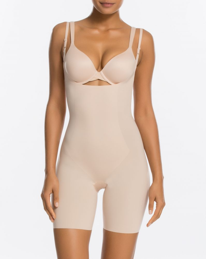 Spanx Thinstincts Open-Bust Mid-Thigh Bodysuit Soft Nude