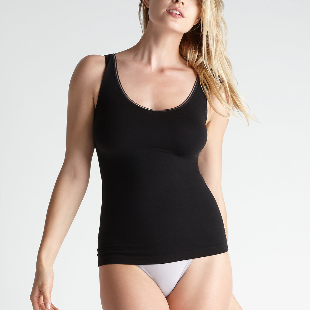 Yummie Tummie Seamless 2-Way Shaping Tank Black