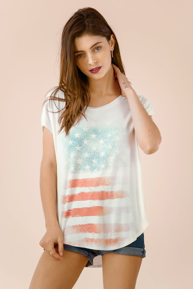 USA Flag Scoop Neck Tee