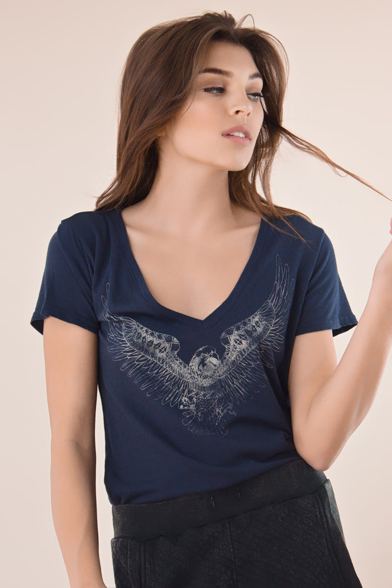 Midnight Hawk V-neck tee