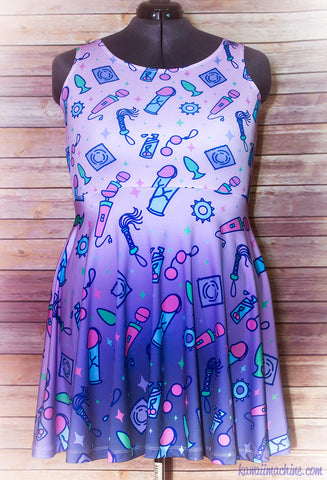 Sexy Time Adult Toy Pastel Print Skater Dress