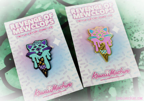 Revenge of Mewclops, Soft Enamel Pin, Cat Lapel Pin, Nerd Gift, Pingame, Kawaii, Fairy Kei, Pastel Goth