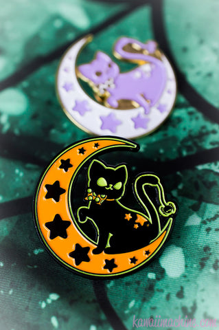 Moonlight Kitty, Cute Enamel Pin, Soft Enamel, Cat Lapel Pin, Nerd Gift, Pingame, Kawaii, Fairy Kei, Pastel Goth