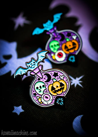 Midnight Magic Halloween Potion Bottle Kawaii Fairy Kei Pastel Goth Enamel Pin